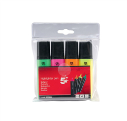 5 Star Highlighters Chisel Tip 1-5mm Line Assorted [Wallet 4]