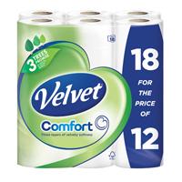 Triple Velvet Toilet Roll 3-Ply Pack 18 White KSCATV18