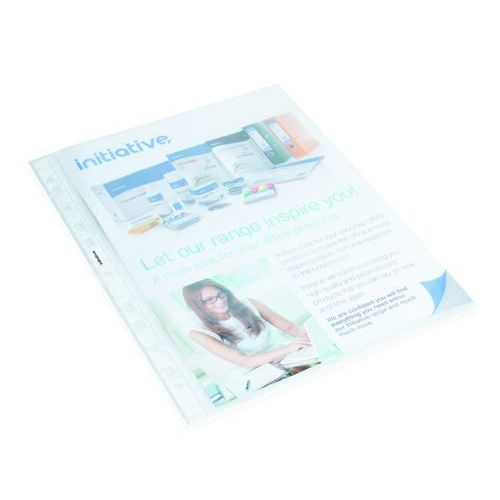 Initiative Reinforced Top Opening Plastic Punched Pockets A4 38 Micron Clear Box 100