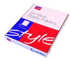 O/Style Plastic Folders A4 Clear (100)