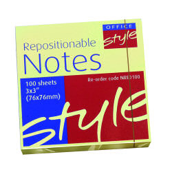 O/Style Repositionable Notes 76x76mm Ylw