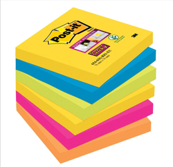 Post-it Super Sticky Removable Notes Pad 90 Sheets 76x76mm Rio Ref 654-6SS-RIO-EU [Pack 6]