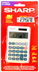 Sharp Calculator Handheld Battery Solar-power 8 Digit 3 Key Memory 70x116x16mm Ref EL240SAB