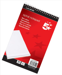 5 Star Spiral Notepad Headbound Ruled 160 Pages 125x200mm [Pack 10]