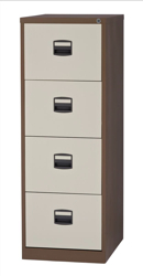Trexus Filing Cabinet Steel Lockable 4 Drawer W470xD622xH1321mm Coffee/Cream