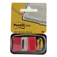 3M Post-it Index Tab 25mm Red With Dispenser 680-1 (Pack of 50)