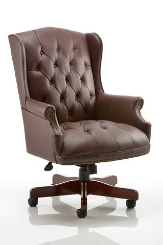Commodore Executive Chair Burgundy Leather With Arms