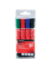 5 Star Permanent Marker Xylene/Toluene-free Smearproof Bullet Tip 2mm Line Assorted [Wallet 4]