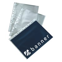 Banner Polypropylene Multi Punched Pockets A4 50mu Open Top Orange Peel Ref 9410001 Packed 100