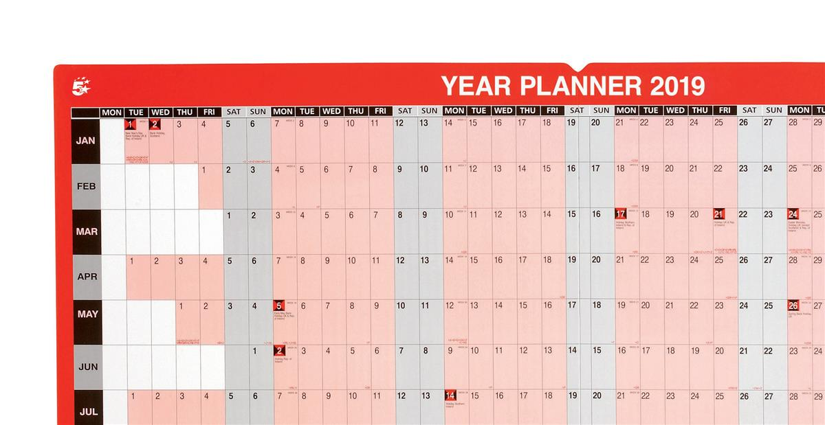 business 2019 year planner mounted landscape with planner kit 915x610mm red