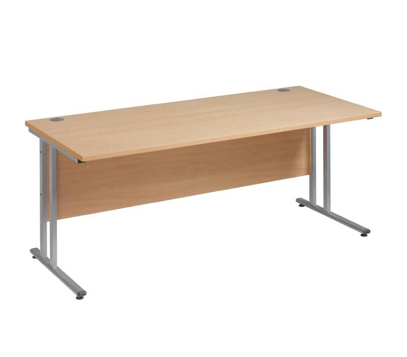 Maestro 25 SL Straight Desk 1200x800mm Silver Cantilever Frame Beech Top