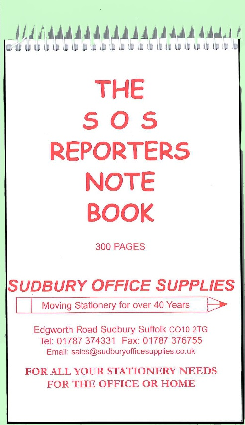 SOS REPORTERS NOTE BOOK - ORDER A PACK OF 6 FOR BULK DISCOUNT!!
