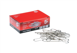 5 Star Giant Paperclips Plain Length 51mm [Pack 100]