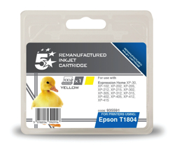 5 Star Compatible Inkjet Cartridge Capacity 3.3ml Yellow [Epson C13T18044010 Alternative]