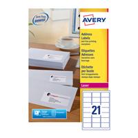 Avery Laser Labels 63.5x38.1x21 Pk100 L7160