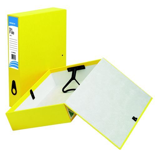 Initiative Lockspring Box File A4/Foolscap 70mm Capacity Yellow
