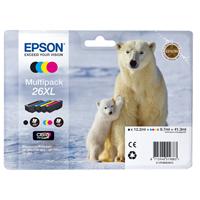 Epson 26XL Black/Cyan/Magenta/Yellow High Yield Inkjet Cartridge Value Pack C13T26364010 / T2636