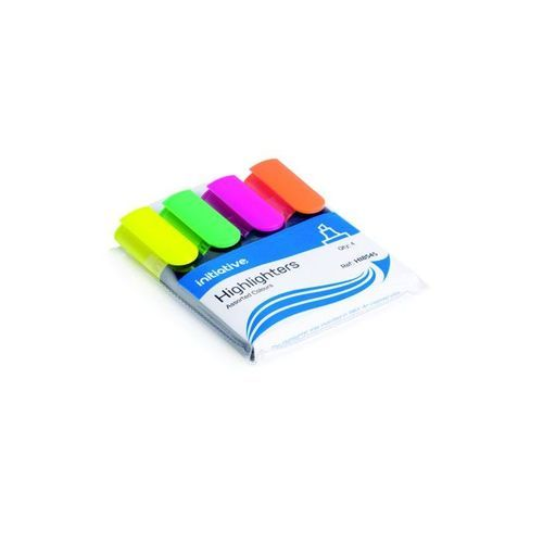 Initiative Water Based Highlighters Wedge Shaped Tip Assorted Wallet 4