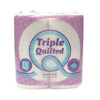 Luxury White 3-Ply Quilted Toilet Roll 10 Packs of 4 TQ4Pk
