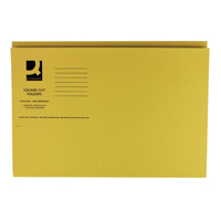 Q-Connect Square Cut Folder Medium Weight 250gsm Foolscap Yellow    KF01185