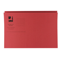 Q-Connect Square Cut Folder Medium Weight 250gsm Foolscap Red    KF01186