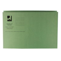 Q-Connect Square Cut Folder Medium-Weight 250gsm Foolscap Green    KF01189