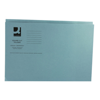 Q-Connect Square Cut Folder Medium-Weight 250gsm Foolscap Blue    KF01191