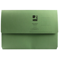 Q-Connect Document Wallet 285gsm Foolscap Green    KF23012