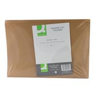 Q-Connect Square Cut Folder 170gsm Kraftliner Foolscap Buff    KF23025