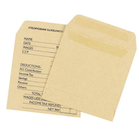 Q-Connect Wage Envelope 108 x 102mm Printed 90gsm Manilla Self Seal Pk 1000 KF3430