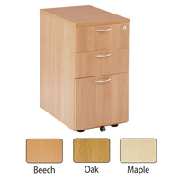 Jemini 3 Drawer Desk High Pedestal 600mm Oak KF72070