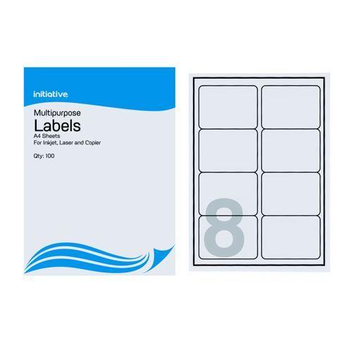 Initiative Multipurpose Labels 99.1 x 67.7mm 8 Labels Per Sheet Pack 100