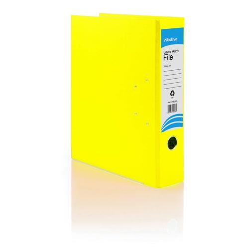 Initiative Lever Arch File A4 Yellow Metal Shoe and Thumbring