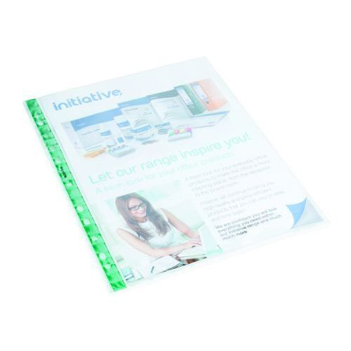 Initiative Green Spine Reinf Top Opening Plastic Punched Pockets A4 50 Micron Glass Clear Box 100