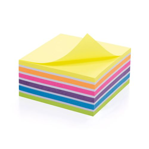 Initiative Sticky Notes Neon Cube 400 Sheets Assorted Colours 76 x 76mm