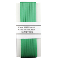 China Ribbon Rayon Green Card 5mm x 50m 8095005EME00
