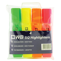Whitebox Assorted Hi-Glo Highlighters (Pack of 4) 7910WT4