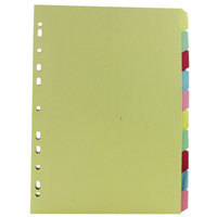 White Box A4 Manilla Divider 10-Part Multi-Colour