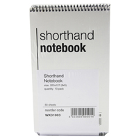 Whitebox Spiral Shorthand Notebook 80 Leaf (Pack of 10) WX31003